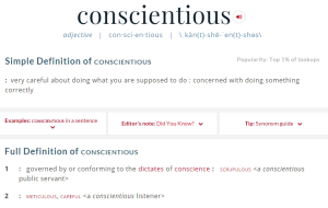 ce definition conscientious